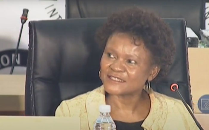 A YouTube screengrab of former SAA Technical board chair and SAA board member Yakhe Kwinana appearing at the state capture inquiry on 3 November 2020.
