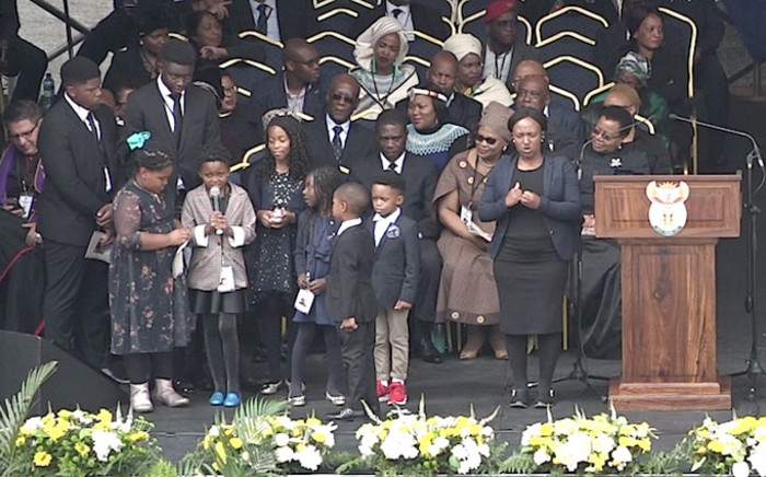Winnie Madikizela-Mandela's great-grandchildren pay tribute to the struggle icon at her memorial service at the Orlando Stadium in Soweto on 11 April 2018. Picture: Louise McAuliffe/EWN