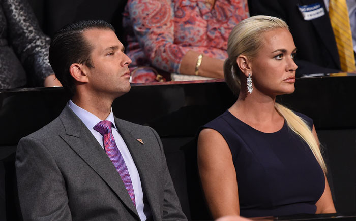 In this file photo taken on July 21, 2016 Donald Trump Jr., and his wife Vanessa Trump look on during the Republican National Convention at the Quicken Loans Arena in Cleveland, Ohio on July 21, 2016. Picture: AFP