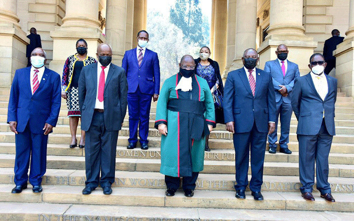 President Cyril Ramaphosa, acting Chief Justice Raymond Zondo and the newly sworn-in ministers and deputy ministers at the Union Buildings in Tshwane on 6 August 2021. Picture: GCIS