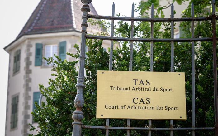 The sign and building of the Court of Arbitration (CAS). Picture: AFP
