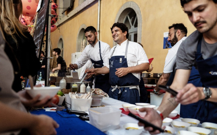 Italian-Argentinian chef Mauro Colagreco participates in the Lyon 4th street-food festival in the southeastern city of Lyon on 14 September 2019. Picture: AFP