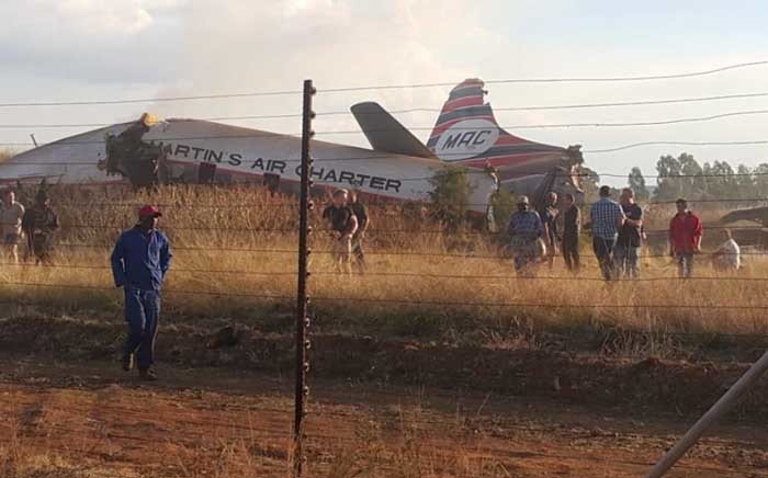 A view of an aircraft that went down near Wonderboom Airport, northern Pretoria. Picture: Supplied.