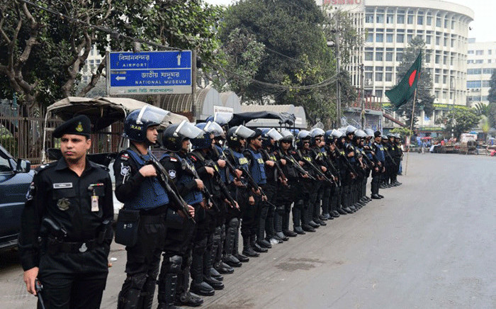 File: Bangladesh police stand guard in Dhaka. Picture: AFP.