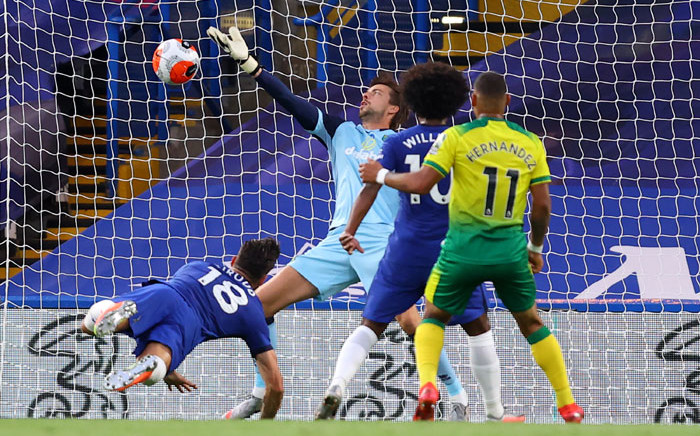 Chelsea's Olivier Giroud scores against Norwich City during their English Premier League match on 14 July 2020. Picture: @ChelseaFC/Twitter