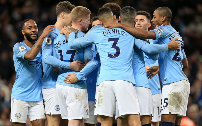 FILE: Manchester City players celebrate a goal in the English Premier League match against Wolves on 14 January 2019. Picture: @ManCity/Twitter