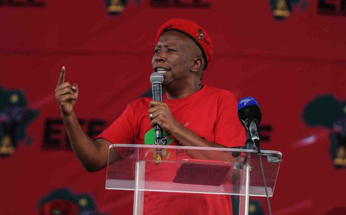 EFF leader Julius Malema addresses supporters in Ermelo in Mpumalanga on 21 March 2018. Picture: @EFFSouthAfrica/Twitter