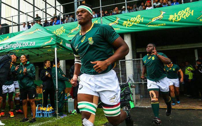 Flanker Phendulani Buthelezi leads out the Junior Springboks ahead of a match. Picture: @JuniorBoks/Twitter