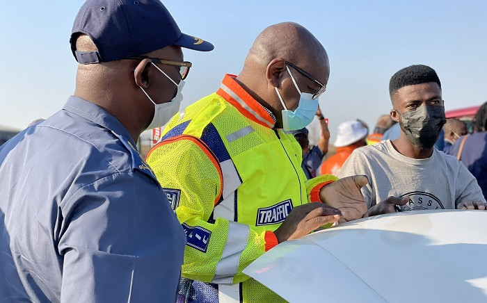 Premier David Makhura joined law enforcement officers on Operation O Kae Molao on 16 Septmeber 2021. Picture: @Gauteng Province/Twitter.