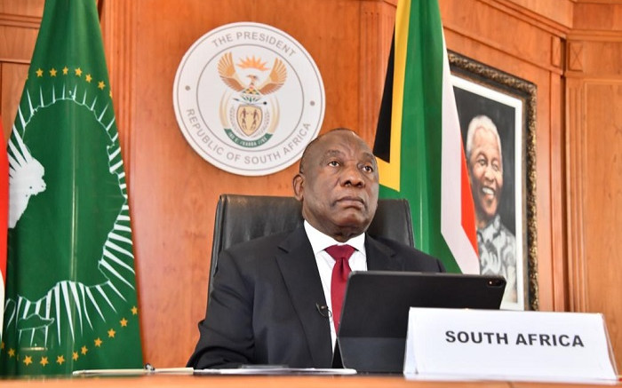 President Cyril Ramaphosa on 3 June 2020 addressed the first Extraordinary Inter-Sessional Summit of Heads of State and Government of the Organisation of African, Caribbean and Pacific States (OACPS) through a virtual session. Picture: @PresidencyZA/Twitter.