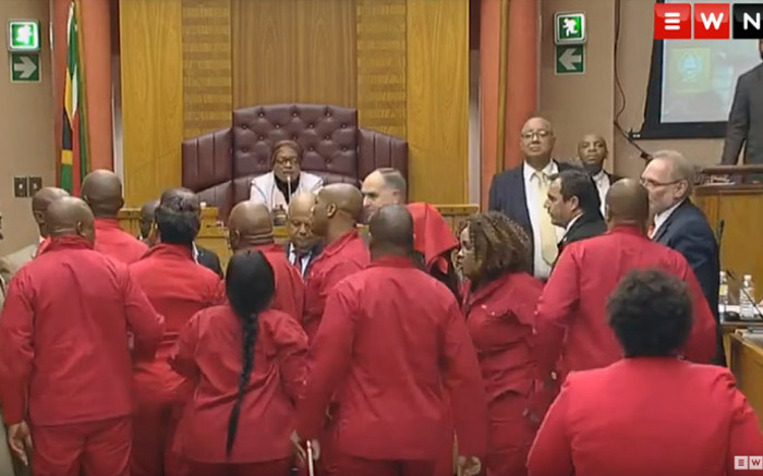 20 EFF MPs who disrupted Gordhan's 2019 budget vote speech ghost Parly hearing - Eyewitness News