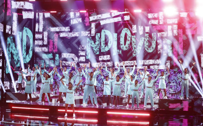 The Ndlovu Youth Choir on stage at America's Got Talent on 19 September 2019, after the group reached the finals. Picture: @ChoirAfrica/Twitter