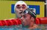 China's Sun Yang (L) and Italy's Gregorio Paltrinieri react after a heat for the men's 800m freestyle event during the swimming competition at the 2019 World Championships at Nambu University Municipal Aquatics Center in Gwangju, South Korea, on 23 July 2019. Picture: AFP.
