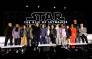 (L-R) Richard E. Grant, Billy Dee Williams, Keri Russell, Oscar Isaac, Adam Driver, Writer/director J.J. Abrams, Co-writer Chris Terrio, Producer and President of Lucasfilm Kathleen Kennedy, Daisy Ridley, John Boyega, Kelly Marie Tran, Naomi Ackie, Joonas Suotamo and Anthony Daniels participate in the global press conference for 'Star Wars: The Rise of Skywalker' at the Pasadena Convention Center on 4 December 2019 in Pasadena, California. Picture: AFP.