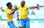 Sundowns players celebrate after drawing level with Orlando Pirates at the summit of the Absa Premiership table on 23 April 2019. Picture: Twitter/@Masandawana