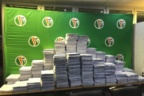 The Freedom Front Plus has collected 101 060 petitions against the expropriation of land without compensation. These are to be submitted to Parliament's Constitutional Review Committee. Picture: Lindsay Dentlinger/ EWN