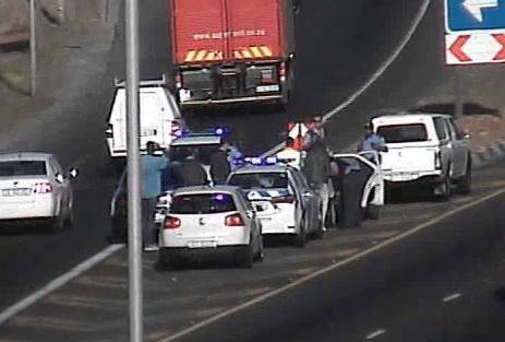 Cape Town traffic officials stopped on the N2 incoming on Jakes Gerwel Drive to help deliver a baby on 10 November 2017. Picture: Supplied