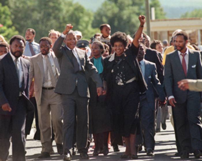 Nelson Mandela and Winnie Madikizela-Mandela on 11 February 1990 when he was released from prison. Picture: AFP.