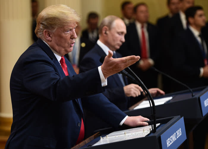 US President Donald Trump (L) and Russian President Vladimir Putin are pictured ahead of their meeting in Helsinki, on 16 July 2018. Picture: AFP