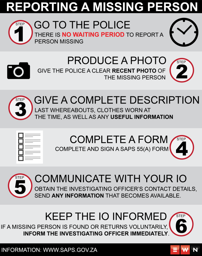 With widespread confusion around what to do when a person goes missing, EWN takes a look at the steps to take to report a person missing. Information: www.saps.gov.za