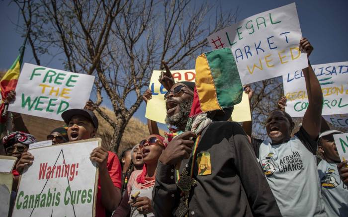 Rastafarians and other protesters gather outside the South African Constitutional Court before the ruling on the private use marijuana is delivered. Picture: Thomas Holder/EWN