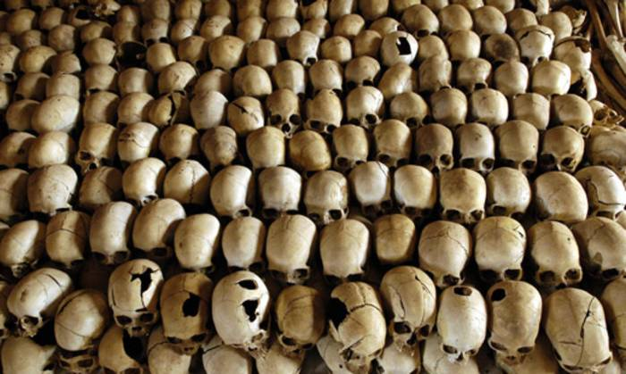 Skulls of victims of the Ntarama massacre during the 1994 genocide are lined in the Genocide Memorial Site church of Ntarama, in Nyamata in Rwanda. Picture: AFP.