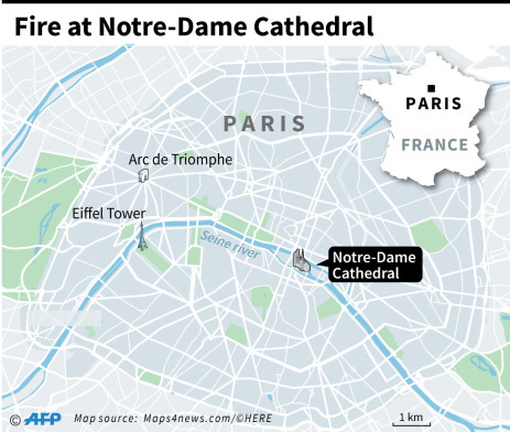 A fire broke out at the Notre-Dame Cathedral in Paris on Monday, 15 April 2019. Picture: AFP