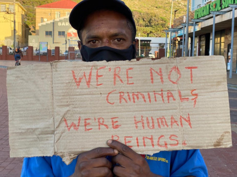 Homeless Muizenberg protester. Image: EWN