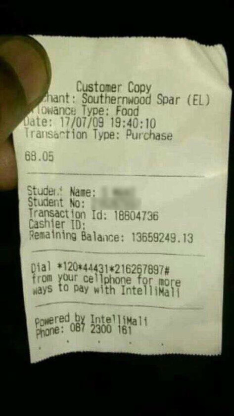 A receipt from a grocery store showing a balance on a Walter Sisulu University student's account of more than R13 million. Picture: Supplied.