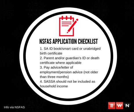 NSFAS checklist.