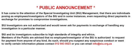 A screenshot of the SIU public service announcement. Picture: www.sui.org.za