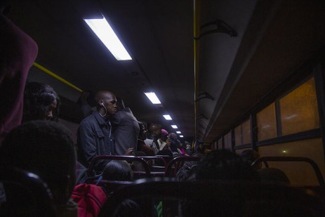 Inside the Ekurhuleni bus in the morning travelling from Vosloorus to Sandton.  Picture: Sethembiso Zulu/EWN