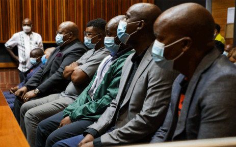 ANC treasurer in Limpopo Danny Msiza, businessman and former ANC Youth League member Kabelo Matsepe and five others appeared in the Palm Ridge Magistrates Court on 12 March 2021 for their alleged role in the looting of VBS funds. Picture: Boikhutso Ntsoko/Eyewitness News.