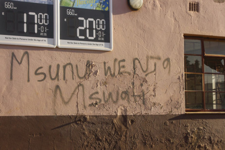 3 July 2021: Residents in Mahwalala outside Mbabane leave graffiti on the walls expressing disdain for the country's monarch. Picture: Magnificent Mndebele/New Frame