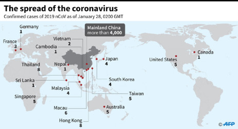 A map showing countries and territories where cases of the China virus have been confirmed as of 28 January, 2020. Picture: AFP