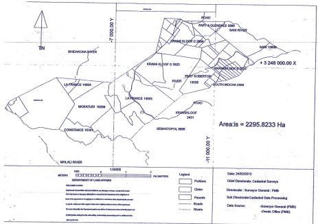 A map of the area in KwaZulu-Natal where the Luthuli clan is trying to reclaim.