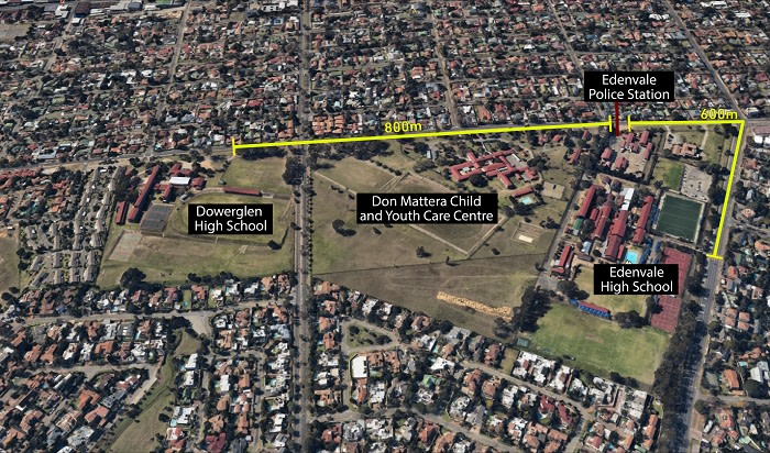 Google Maps showing the distance from Edenvale High, the nearest police station and Dowerglen High. Picture: Google Maps.