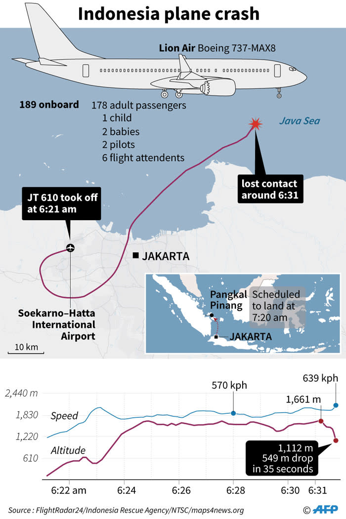 Graphic on Lion Air JT 610 that crashed shortly after take-off on Monday with 189 people on board.