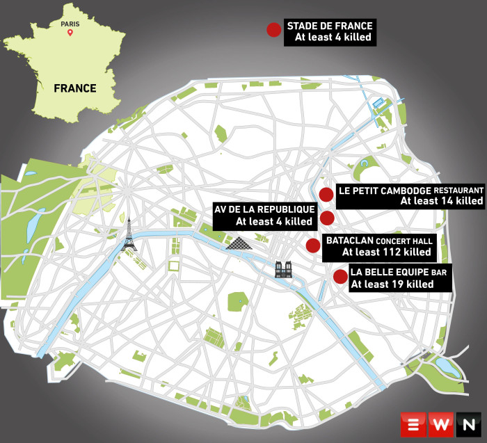 At least 150 killed in Paris attacks