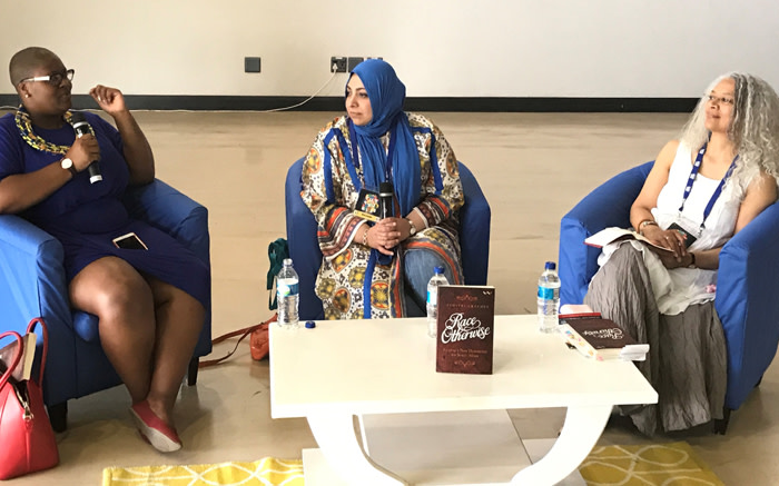 702 presenter Gugulethu Mhlungu facilitates a discussion on racism with Mail & Guardian editor in chief Khadija Patel and Wits University Professor Zimitri Erasmus. Picture: Tebogo Tshwane/EWN