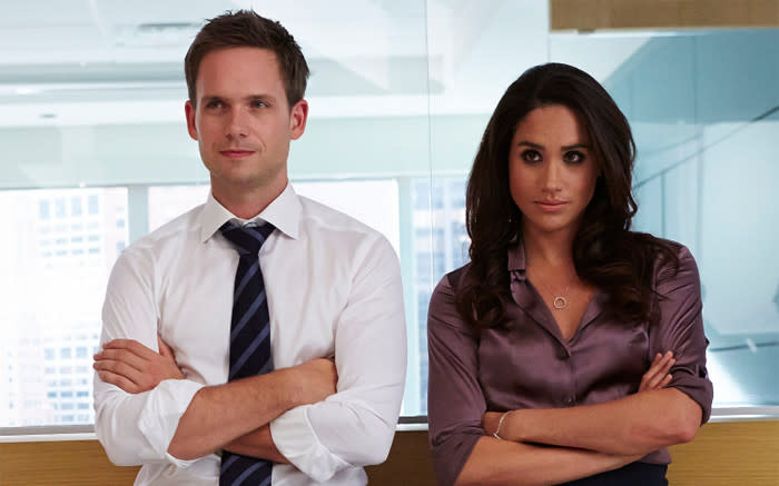 Patrick J Adams and Meghan Markle in a scene from 'Suits'. Picture: usanetwork.com/suits