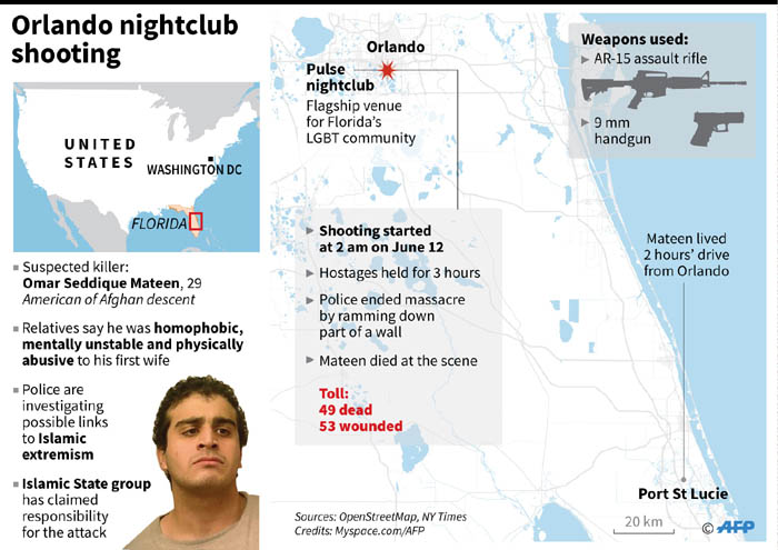 Map and factfile on the Orlando nightclub shooting on Sunday.