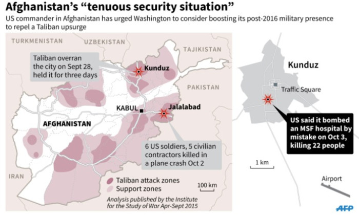 Map on the latest situation in Afghanistan. Includes Taliban attack zones and location of the MSF hospital which was mistakenly hit by an American air strike, a top US commander said Tuesday.