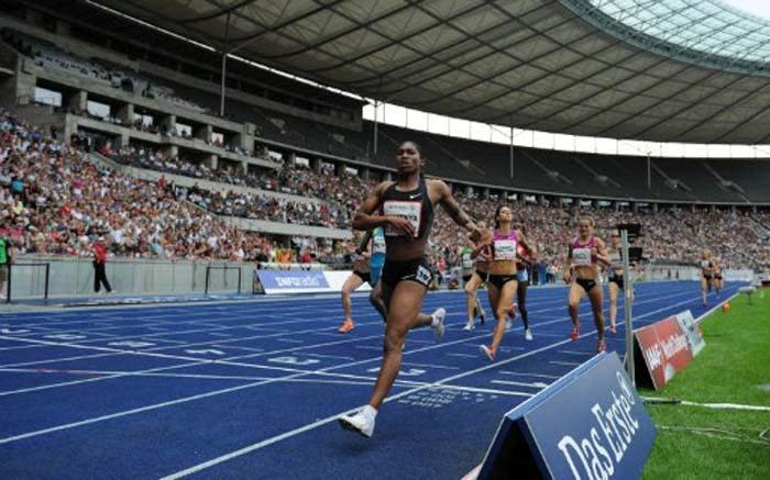 South Africa's Caster Semenya crosses the finish line to win the women's 800m competition during the ISTAF (Internationales Stadionfest) IAAF World Challenge on 22 August 2010 in Berlin. Picture: AFP.