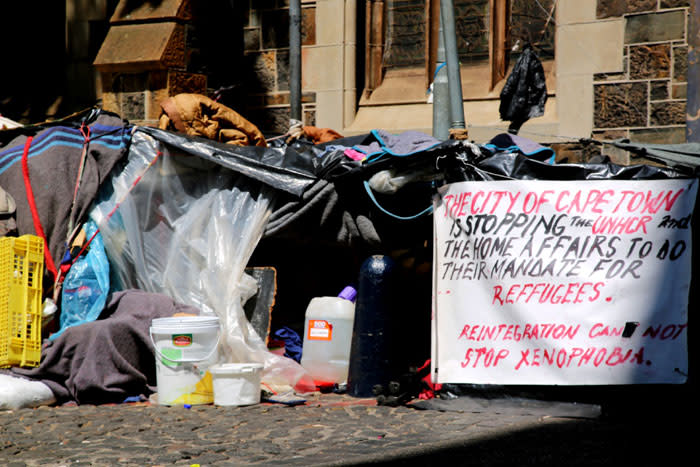 Some of the makeshift shelters outside the Central Methodist Mission Church in Greenmarket Square in Cape Town. Picture: Kaylynn Palm/EWN