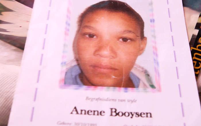 Anene's funeral card. Picture: Kaylynn Palm/EWN.