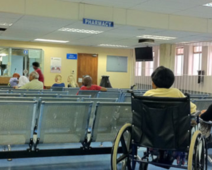 Patients waiting in the queue at a Johannesburg state hospital