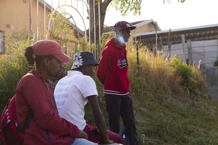 Unemployed Jordache Sookoo, far right, hangs out with his friends near his home in Phoenix on 20 July 2021.