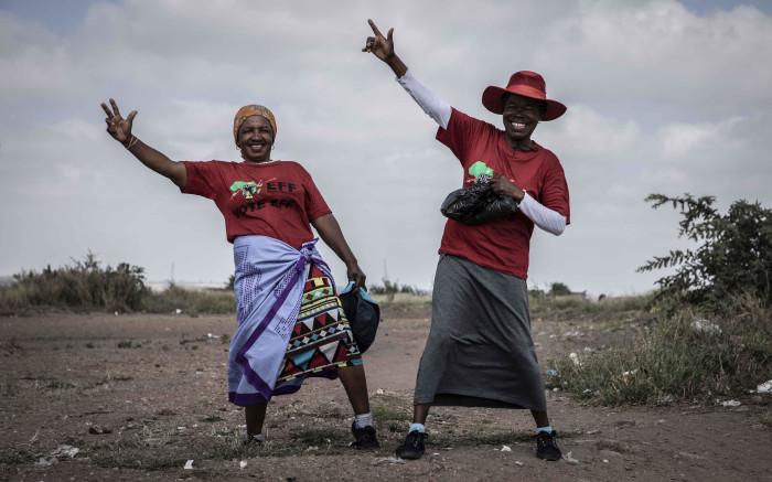 EFF supporters posing in Juju Valley, an informal settlement in Polokwane, Limpopo. Picture: Abigail Javier/EWN