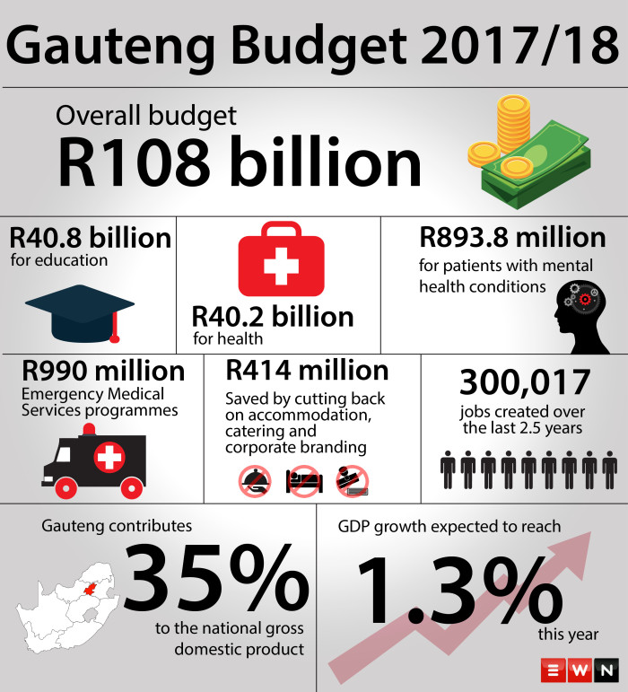Gauteng Finance MEC Barbara Creecy tabled a budget of R108 billion for the 2017/18 financial year with the Education Department remaining the single largest budget item in the province.  Picture: EWN